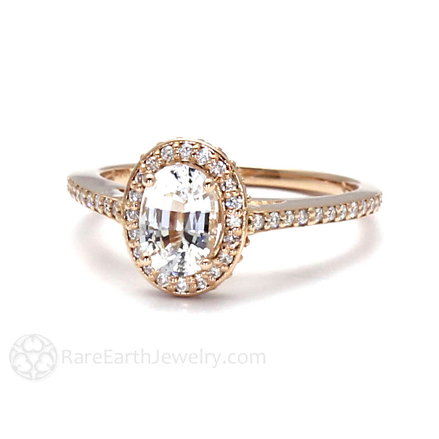 Oval White Sapphire Wedding Ring with Diamonds Rose Gold