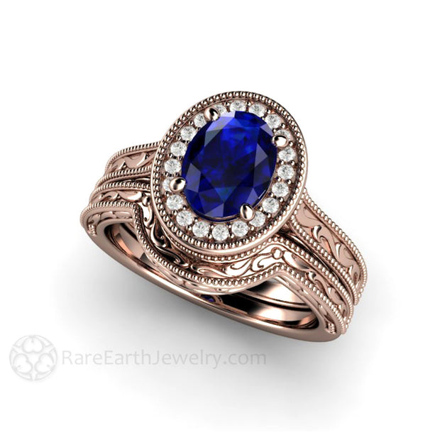 14K Rose Gold Oval Blue Sapphire Engagement Ring and Wedding Band Set Diamond Halo Accents Rare Earth Jewelry