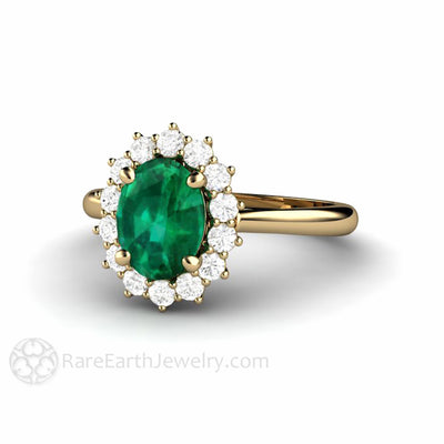 Oval Green Emerald Engagement Ring with Diamond Halo in Cluster Design Green Emerald Ring in Gold or Platinum by Rare Earth Jewelry