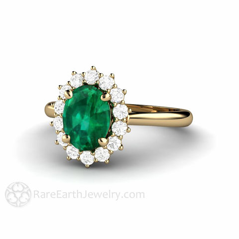 Emerald Engagement Ring Oval Diamond Halo Vintage Style