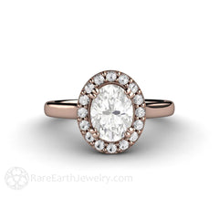 Rose Gold Moissanite Halo Wedding Ring Rare Earth Jewelry