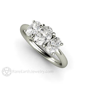 Rare Earth Jewelry Moissanite Ring Three Stone Oval Cut 14K White Gold