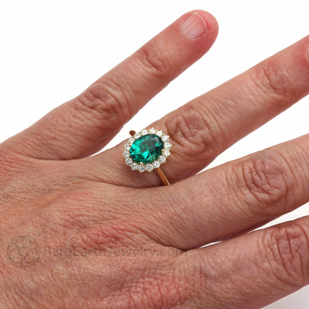 Rare Earth Jewelry Oval Emerald Engagement Ring on Finger 14K