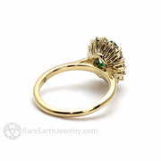 Rare Earth Jewelry Vintage Style Green Emerald Ring Oval Diamond Cluster Halo