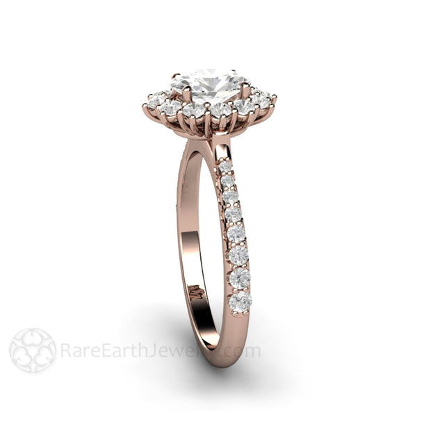 Rare Earth Jewelry Oval Moissanite Halo Anniversary Ring Pave Diamond Setting 14K Rose Gold