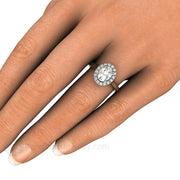 Oval Cut Moissanite Halo Ring on Finger Rare Earth Jewelry