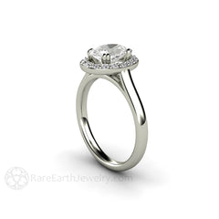 Oval Cut Moissanite Diamond Halo Bridal Ring Rare Earth Jewelry