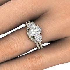 Oval 3 Stone Moissanite Wedding Set on Finger Rare Earth Jewelry
