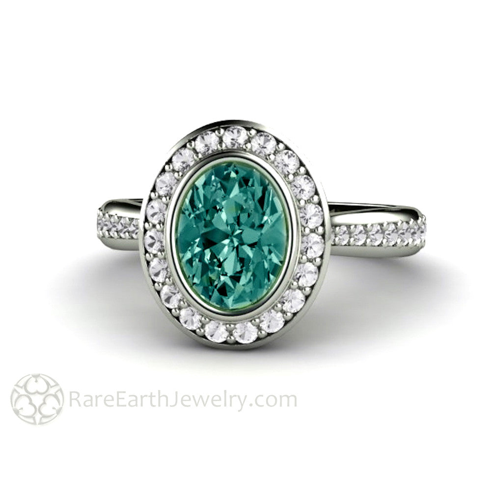 Montana Blue Green Sapphire And Diamond Engagement Ring Rare Earth Jewelry