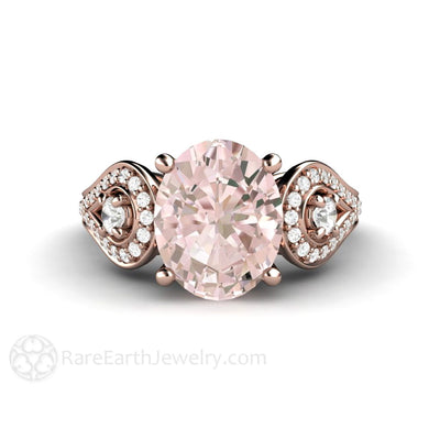 Rare Earth Jewelry Morganite Engagement Ring 3 Stone with Diamond Accent Stones