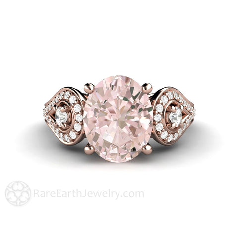 Oval Morganite Engagement Ring Accented 3 Stone