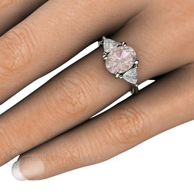Oval Morganite 3 Stone Ring on Finger Rare Earth Jewelry