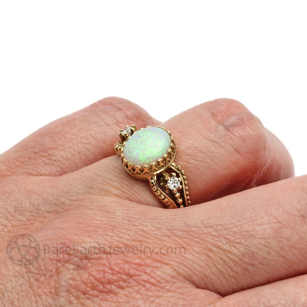Oval Opal Ring on Finger Rare Earth Jewelry