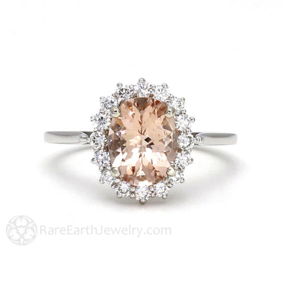 Rare Earth Jewelry Morganite Ring with Oval Cut Natural Peach Gemstone and Diamond Accent Stones