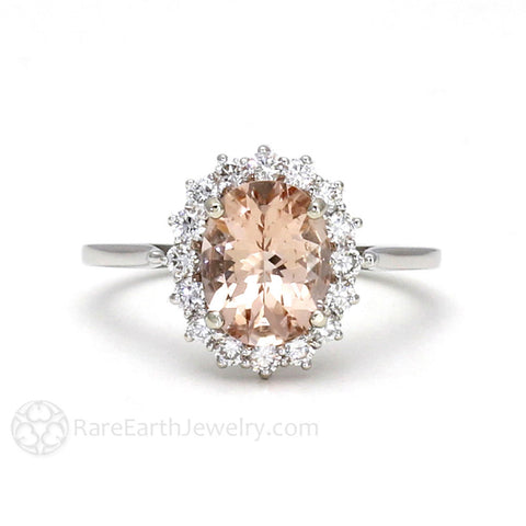Oval Peach Morganite Engagement Ring with Diamond Cluster Halo