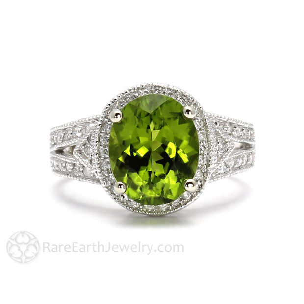 Rare Earth Jewelry Oval Cut Peridot and Diamond Ring Vintage Style August Birthstone