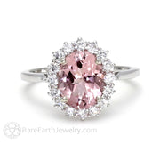 Rare Earth Jewelry Oval Cut Pink Morganite Halo Ring White Gold