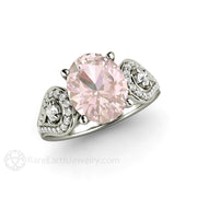 Rare Earth Jewelry Platinum Oval Cut Morganite Wedding Ring