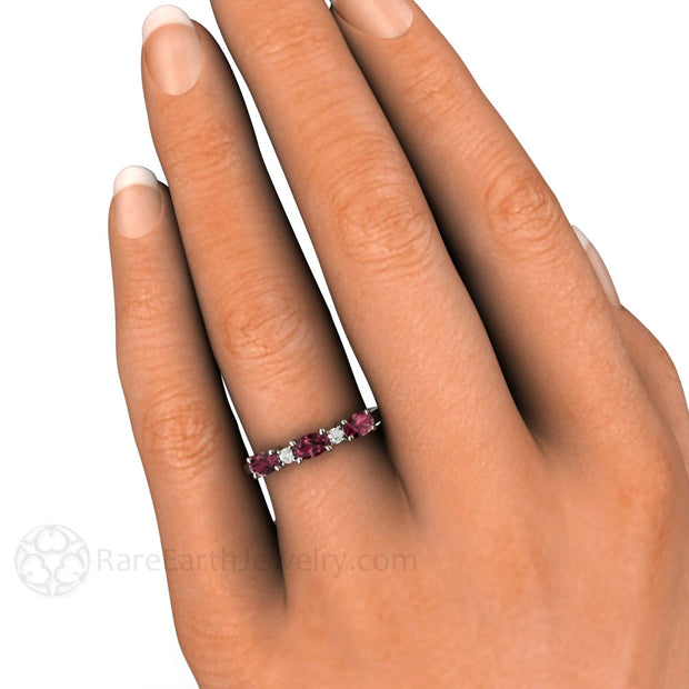 East West Rhodolite Garnet Stackable Ring Rare Earth Jewelry
