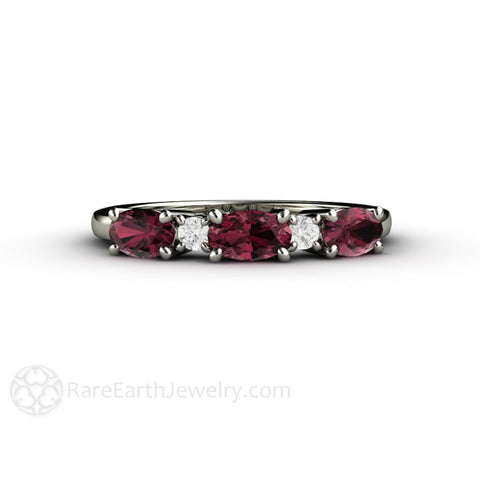 Oval Rhodolite Garnet Ring East West Anniversary Band January Birthstone