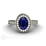 Dark Blue Oval Sapphire Solitaire Anniversary Ring Vintage Art Deco Filigree Milgrain Setting Rare Earth Jewelry