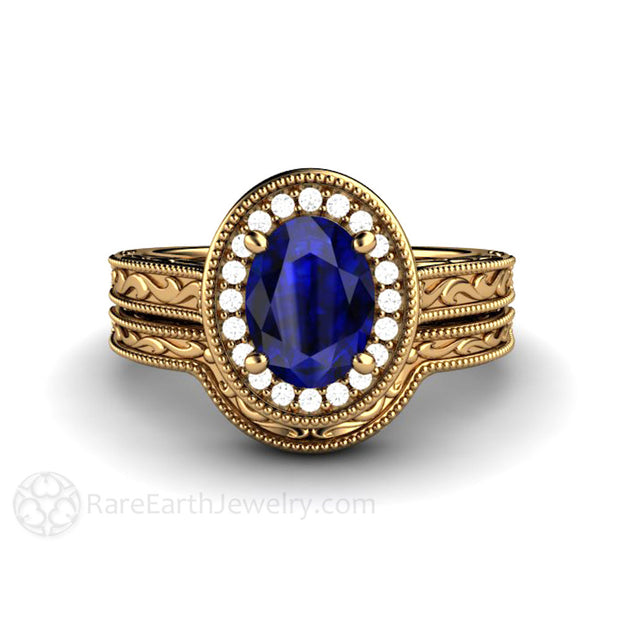 Dark Blue Oval Sapphire Wedding Ring Set Vintage 18K Gold Halo Design Rare Earth Jewelry