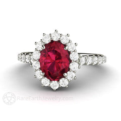 Rare Earth Jewelry Oval Ruby Ring Cluster Halo