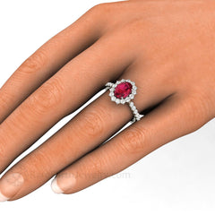 Oval Ruby Engagement Ring on Hand Rare Earth Jewelry