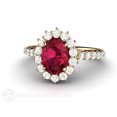 14K Ruby and Diamond Wedding Ring Rare Earth Jewelry