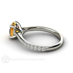 Diamond and Oval Yellow Sapphire Solitaire Bridal Ring Rare Earth Jewelry