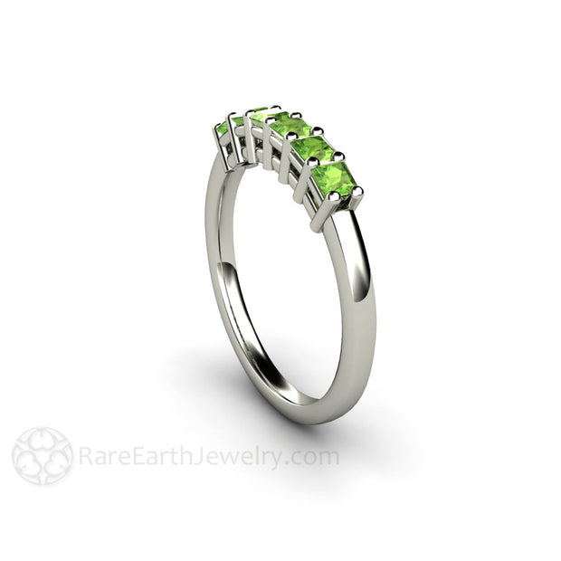 Peridot Princess Stacking Right Hand Ring 14K White Rare Earth Jewelry