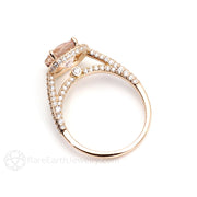 Morganite Ring Diamond Cathedral Halo Setting Rose Gold Rare Earth Jewelry