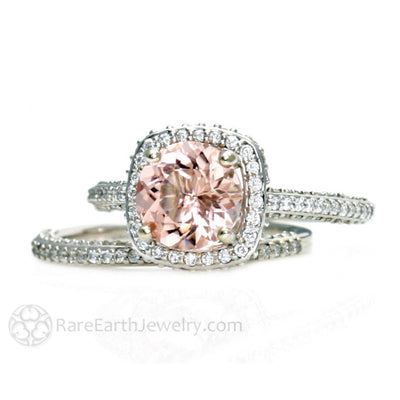 Rare Earth Jewelry Pink Morganite Diamond Halo Wedding Ring Set 14K Gold