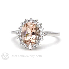 Rare Earth Jewelry Peach Oval Cut Morganite Bridal Ring 14K White Gold Diamond Halo Cluster