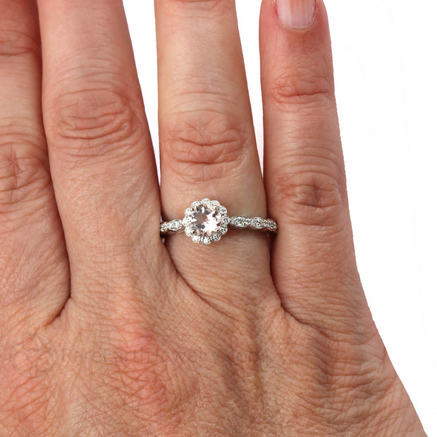 Peachy Pink Morganite Anniversary Right Hand Ring on Finger Rare Earth Jewelry