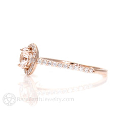 Morganite Engagement Ring 14K Rose Gold Diamond Halo Rare Earth Jewelry