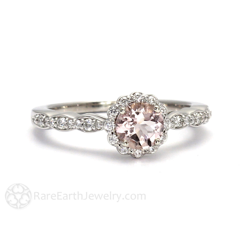 Rare Earth Jewelry Peachy Pink Morganite Halo Engagement Ring