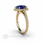 Pear Cut Blue Sapphire Diamond Halo Engagement Ring on Dainty Thin Pave Diamond Band in Yellow Gold