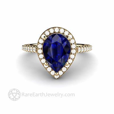 10x7mm Pear Cut Blue Sapphire Engagement Ring with Pave Diamond Halo Setting in Yellow Gold Unique Colored Gemstone Engagements