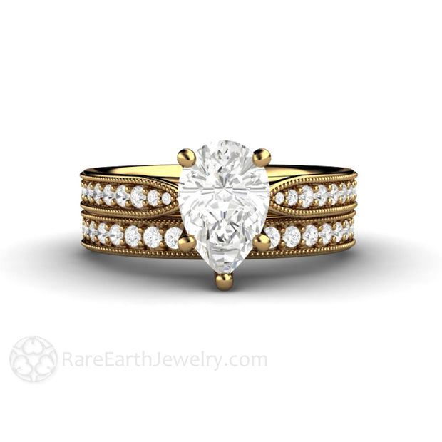 Rare Earth Jewelry Forever One Moissanite Pear Wedding Ring Set 18K Gold Diamond Accented Bridal Band