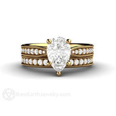 Forever One Moissanite Pear Wedding Ring Set 18K Gold Diamond Accent Stones Rare Earth Jewelry