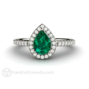 Rare Earth Jewelry Green Emerald Ring Pear Cut with Diamond Halo May Birthstone