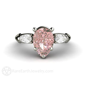 Rare Earth Jewelry Pink Moissanite Engagement Ring Pear Cut 3 Stone