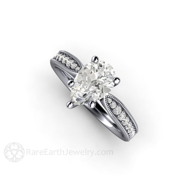 Rare Earth Jewelry Platinum Pear Cut Moissanite Engagement Ring with Conflict Free Diamond Accent Stones