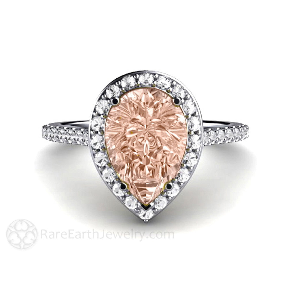 Rare Earth Jewelry Pear Shaped Morganite Engagement Ring Diamond Halo