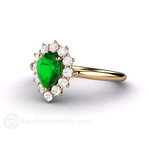 Pear Green Garnet Cluster Halo Ring Rare Earth Jewelry