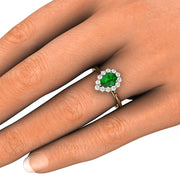 Pear Tsavorite Garnet Right Hand Ring on Finger Rare Earth Jewelry