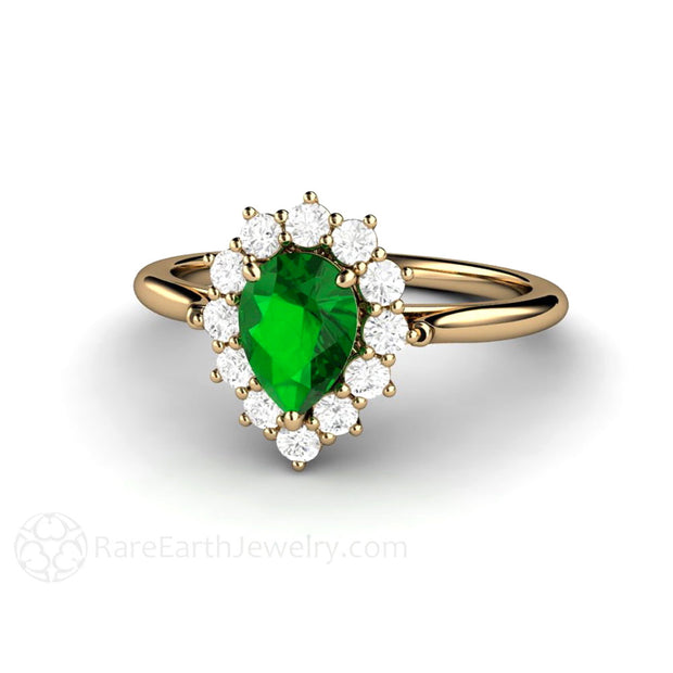 14K Pear Shaped Tsavorite Garnet Ring Rare Earth Jewelry