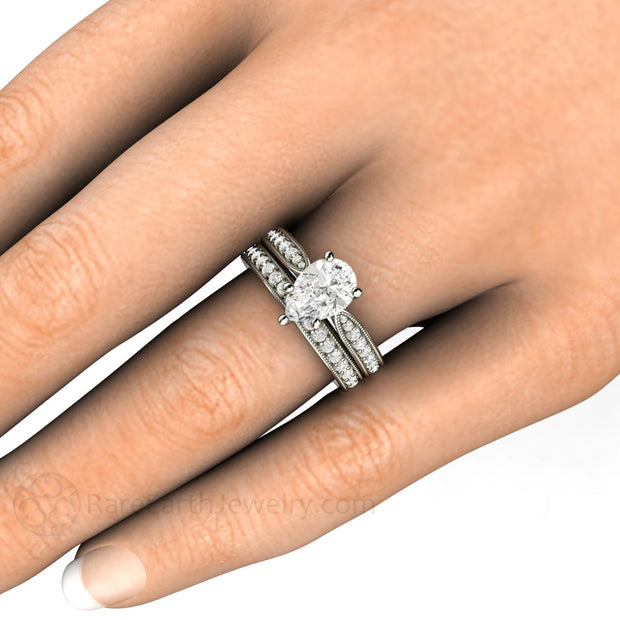 Rare Earth Jewelry Pear Moissanite Wedding Ring Set on Finger White Gold Setting