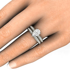 Pear Shaped Moissanite Wedding Ring Set on Finger Rare Earth Jewelry